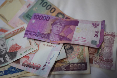 Colorful foreign money