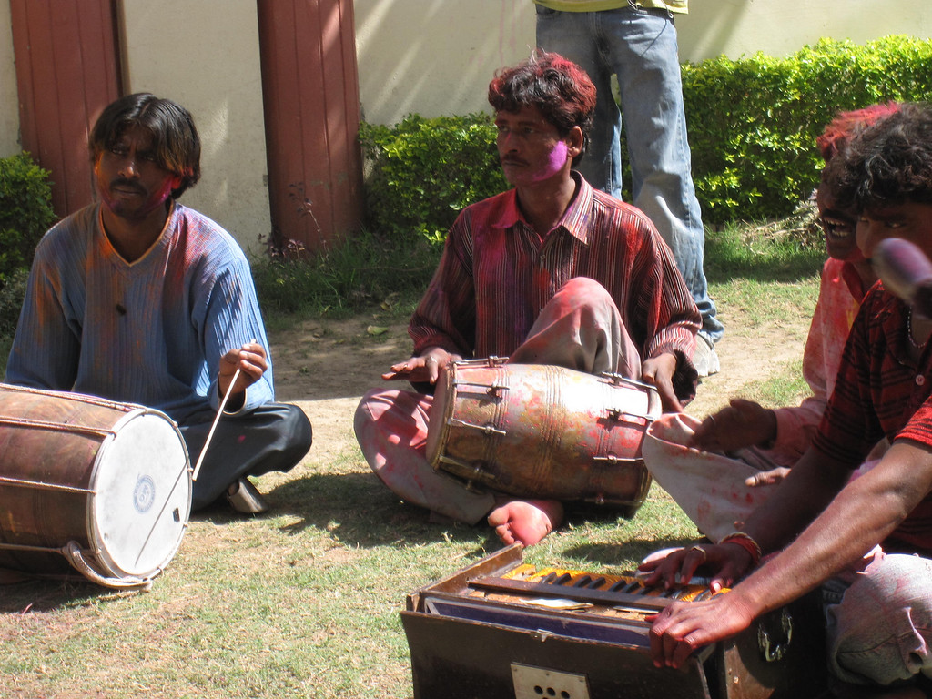 A local band played in the courtyard to make the festival of colors even more fun.