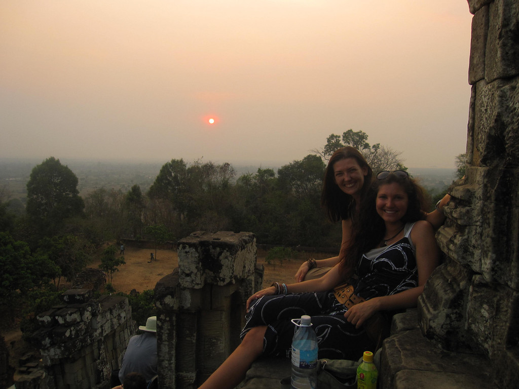 Sunset together from a temple at Angkor Wat, Cambodia