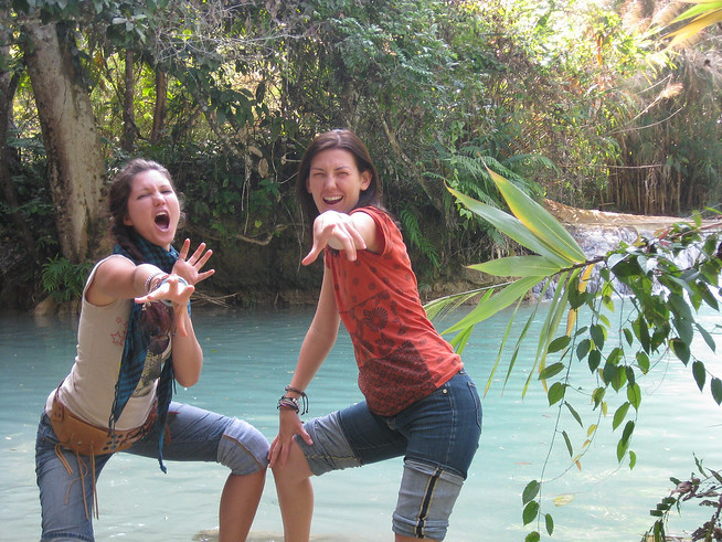 voguing at the blue lagoon daytrip in Laos