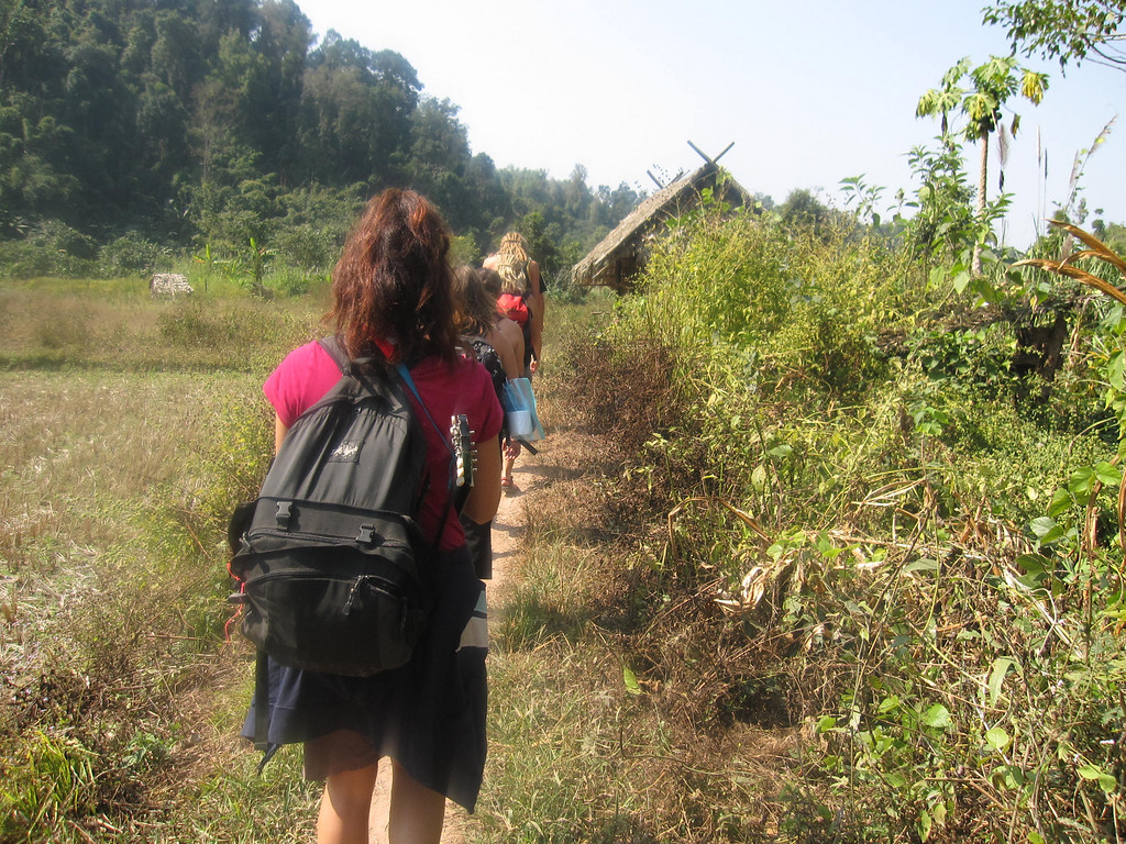 hiking to our treehoue in the bokeo province, laos