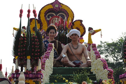 Flower floats at the Chiang Mai Flower Festival, Thailand