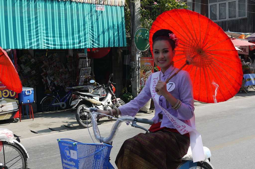 Entrant in the Beauty Pageant, Bo Sang Umbrella Festival, Chiang Mai, Thailand