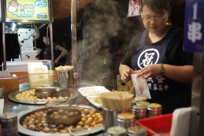 Street food vendor at the Shilin Night Market in in Taipei, Taiwan