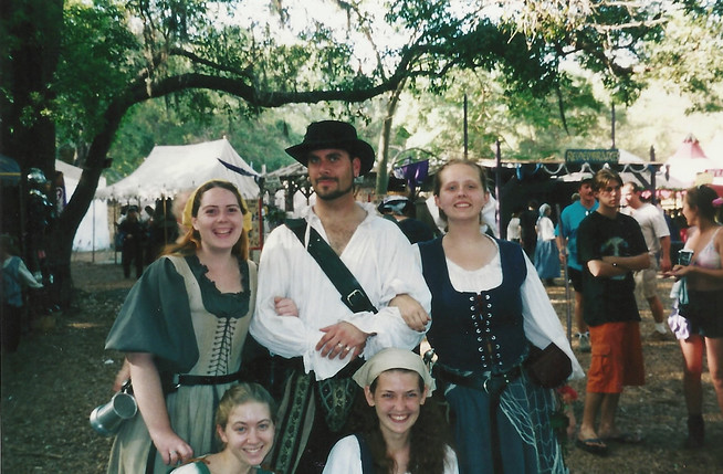 The Spanish Ambassador and his Spanish Ladies (me included) at the 2001 Bay Area Renaissance Festival.