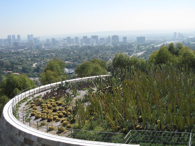 Los Angeles and the cactus garden, Getty Center in Los Angeles, California